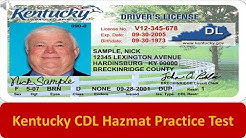 Kentucky CDL Hazmat Practice Test