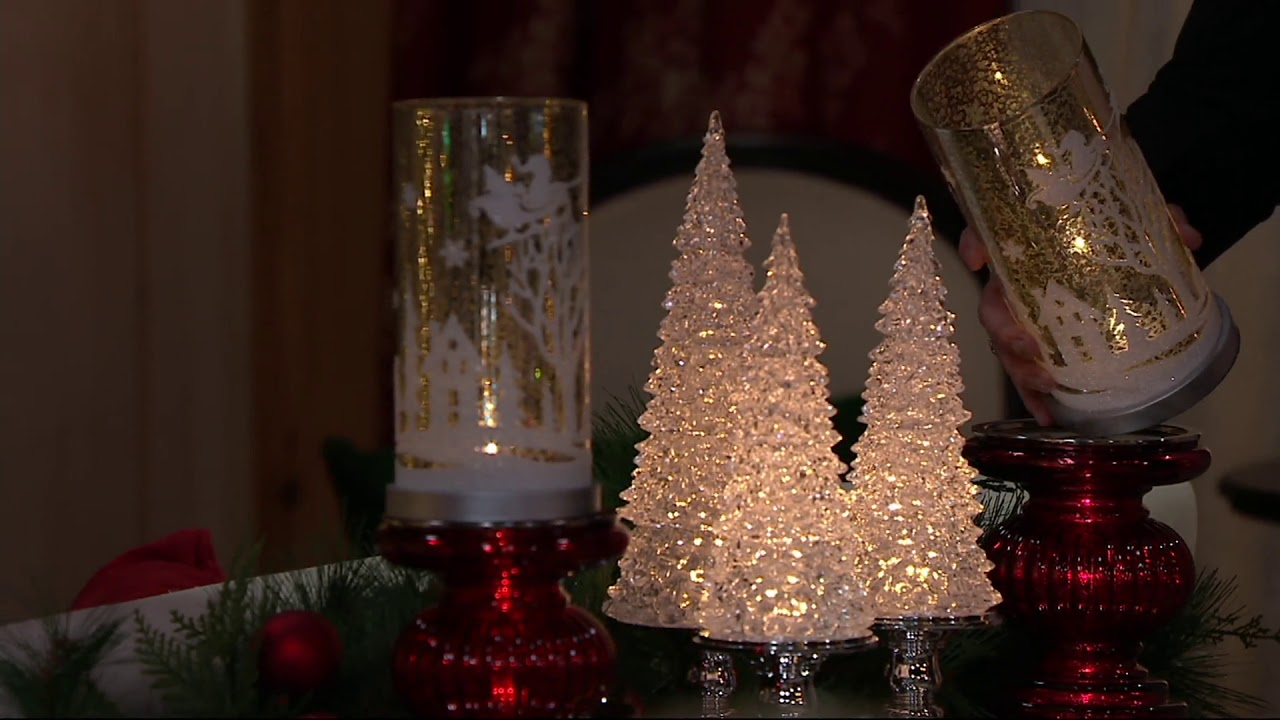 illuminated mercury glass pillar with holiday scene by valerie on qvc - Mercury Glass Christmas Trees