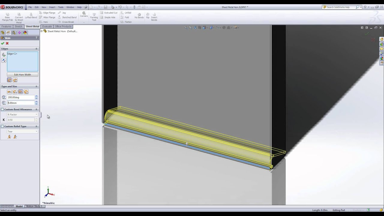The Sheet Metal Hem Tool In Solidworks Youtube