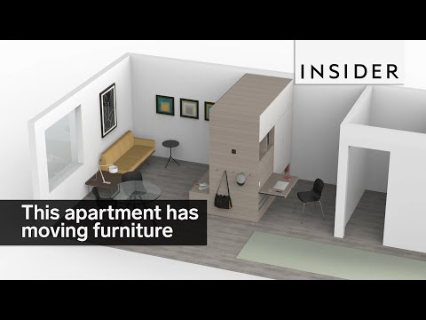 This micro apartment has moving furniture