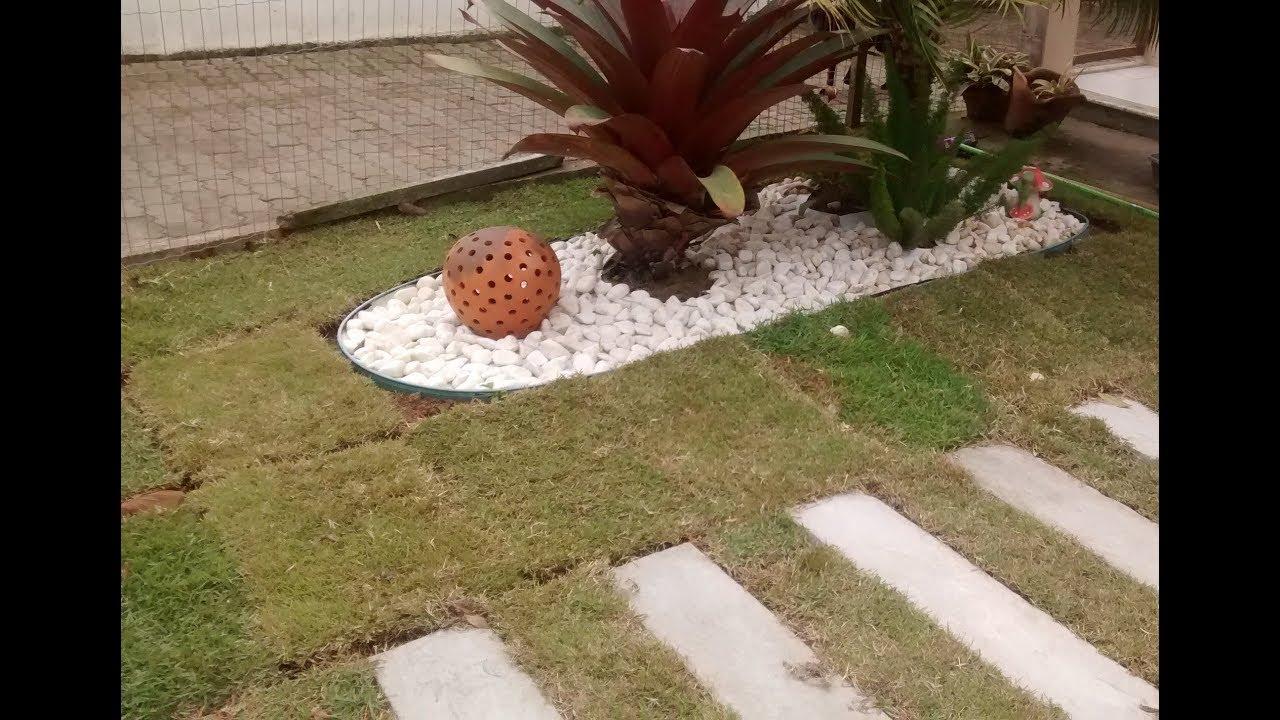 Jardim simples para fazer em sua casa YouTube -> Decoração De Jardins Com Pedras E Flores