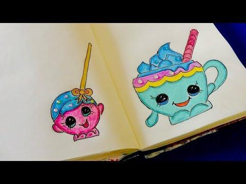 🎂Простые рисунки в стиле эмоджи или как нарисовать Shopkins Cake Pop Molds и горячий  шоколад 🎂