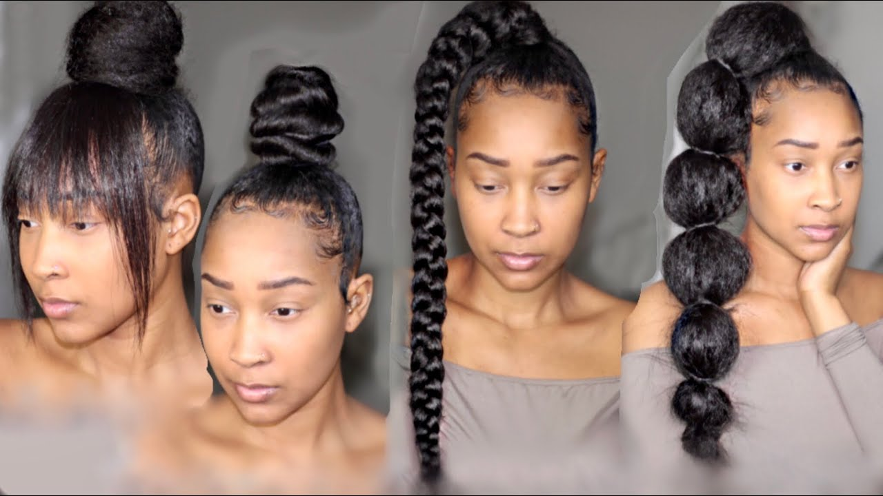 Four Hairstyles With 2 Braiding Hair Youtube