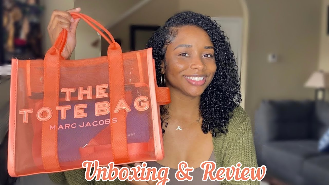 The Perfect Summer Bag! Unboxing Marc Jacobs Small Traveler Mesh Tote Bag  in Fusion Coral + Review