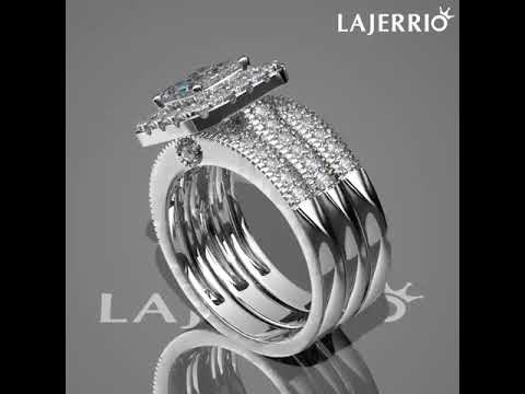 9d97a38b18aadf 360° - Women's Princess Cut White Sapphire 925 Sterling Silver Bridal Sets. Lajerrio  Jewelry