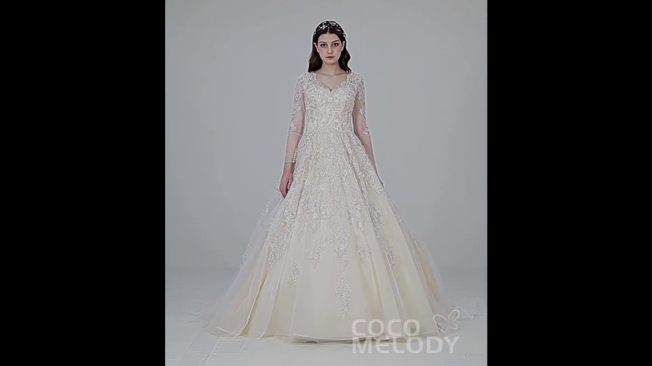 Luxurious Princess Champagne Wedding Dress Ld4622 Youtube