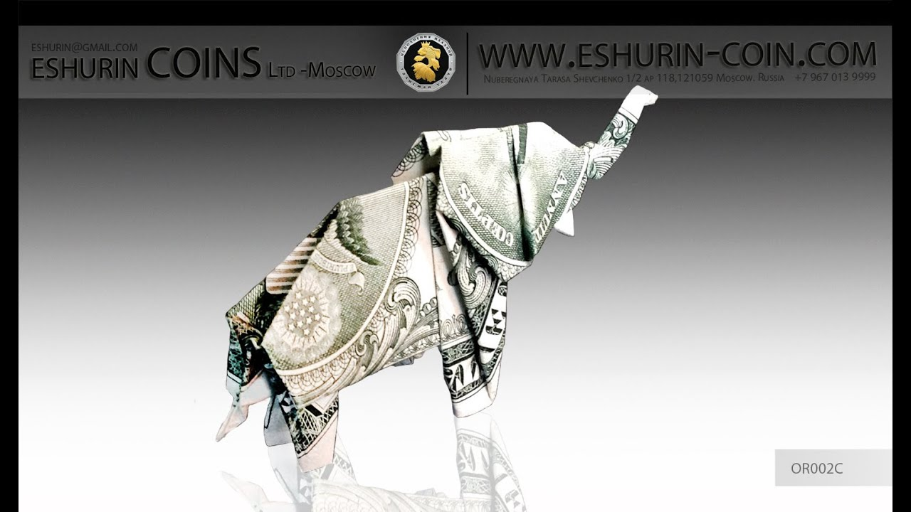 Origami 1 Dollar Elephant Symbol Of Luck Youtube