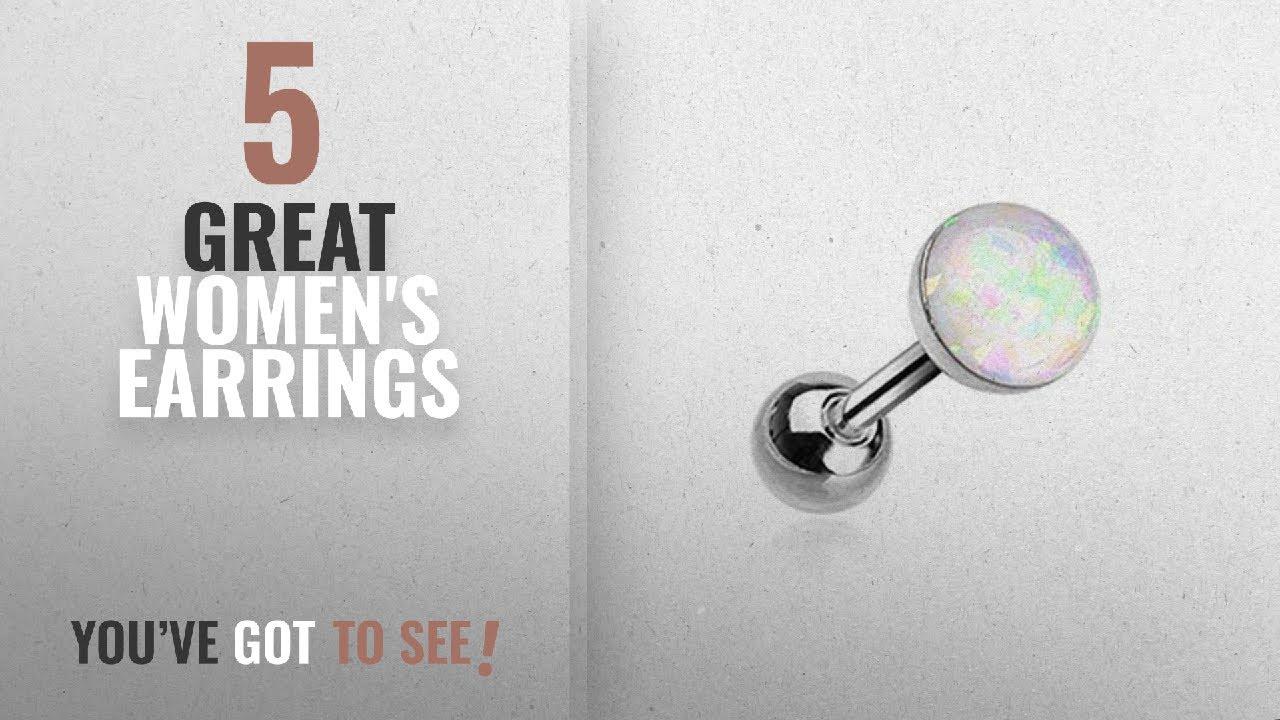 10 Best Tragus 18 Gauge Earrings 2018 Opal Sparkle Cartilage Earring 316l Surgical Steel