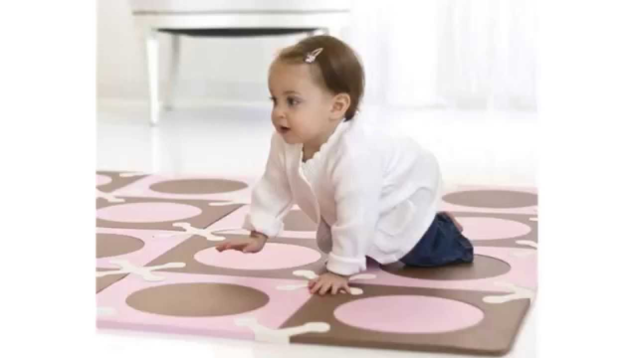 skip hop playspot floor mat, light pink/brown, 20 count - youtube