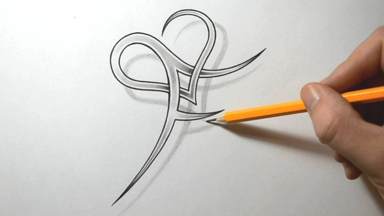 Fancy Letter P Tattoo With Heart