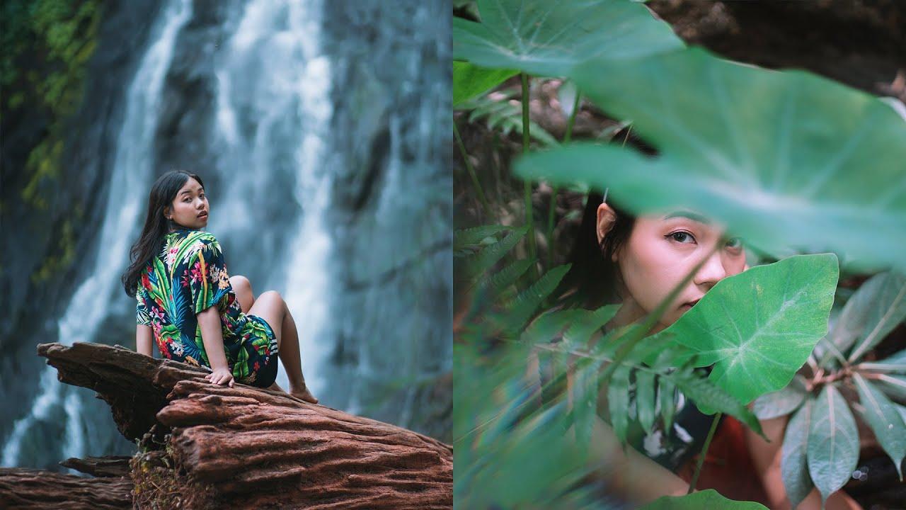 creative portrait fun shoot props waterfall