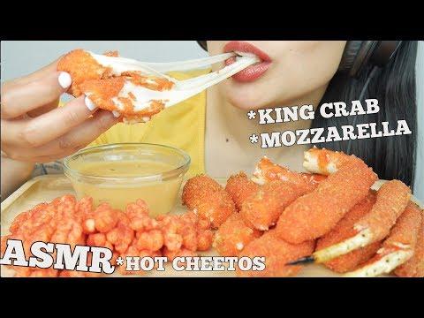 ASMR *HOT CHEETOS FRIED KING CRAB + MOZZARELLA STICKS (CRUNCHY EATING SOUNDS) NO TALKING | SAS-ASMR