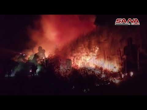 اندلاع حريق كبير في منطقة جبل حمد بمنطقة الدريكيش في ريف طرطوس الشرقي