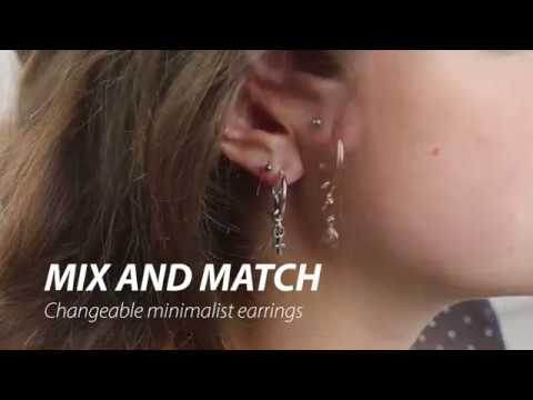Handmade jewellery: Minimalist earrings with changeable pendants ♡ DIY