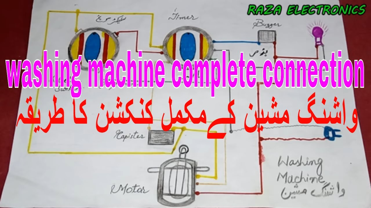 Electric Dryer Wiring Diagram Adjustable Air Ride Suspension Washing Machine Timer Connection Very Simple Guide In Urdu Hindi - Youtube