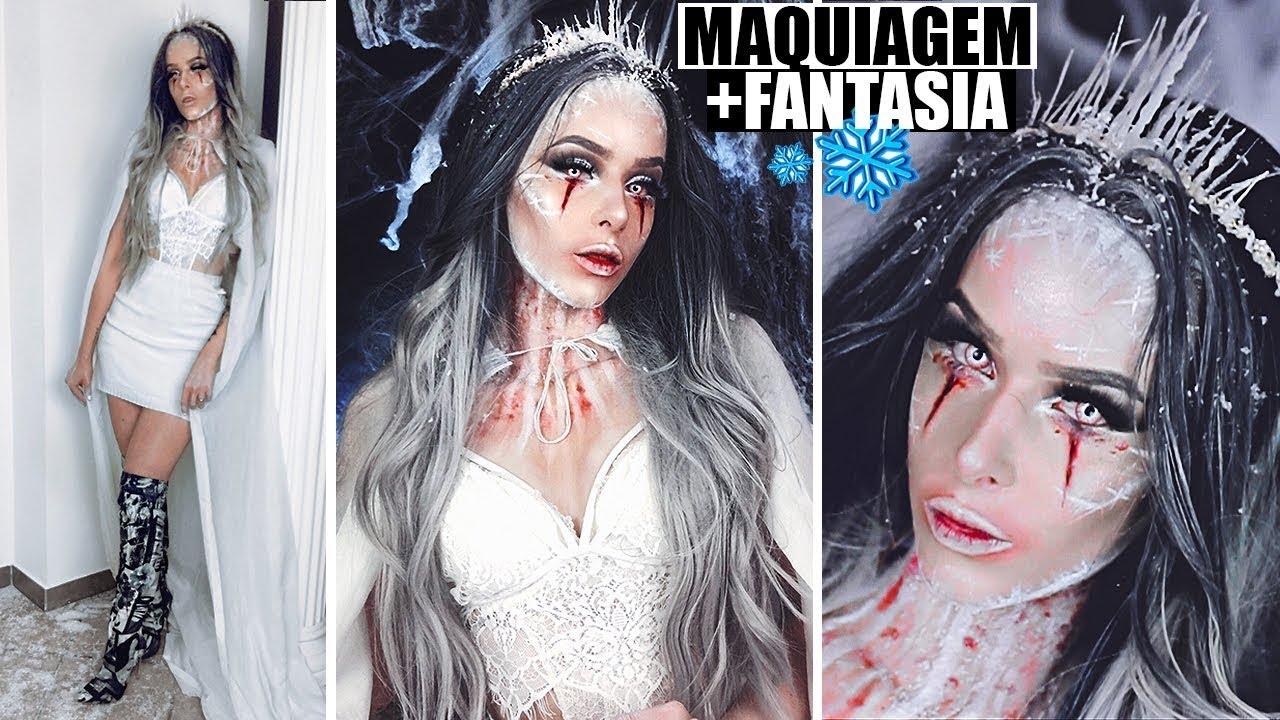Rainha Do Gelo Maquiagem Halloween Youtube