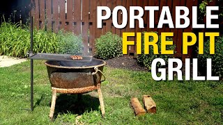 DIY Projects: How To Make Portable Fire Pit Grill Using Scrap Metal! Eastwood