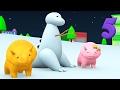 Учим цифры, делая снежного динозавра к Рождеству вместе с динозавриками Дино и его подружкой Диной