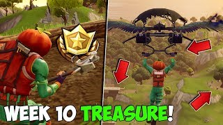 FORTNITE WEEK 10 TREASURE Location! | Search Between A Stone Circle, Wooden Bridge & A Red RV