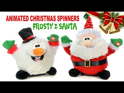 Sing & Dance Santa Claus & Frosty the Snowman Animated Christmas Spinners Plush Toys