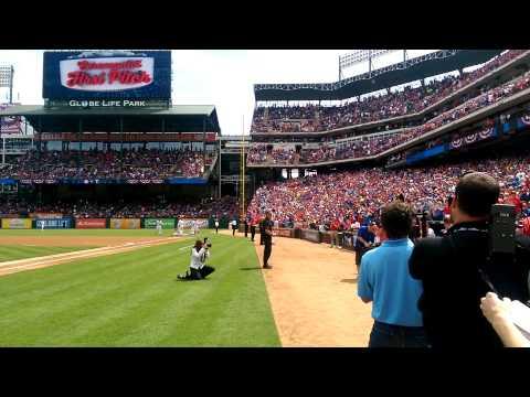 First pitch thrown by Staff Sergeant Nicholas Bradley w/ Pres. Bush