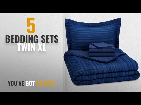 Top 10 Bedding Sets Twin Xl [2018]: AmazonBasics 5-Piece Bed-In-A-Bag - Twin/Twin Extra Long, Blue