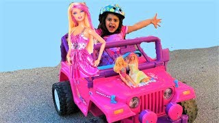 Sally Pretend Play w/ Barbie Power Wheels ride on cars Toy