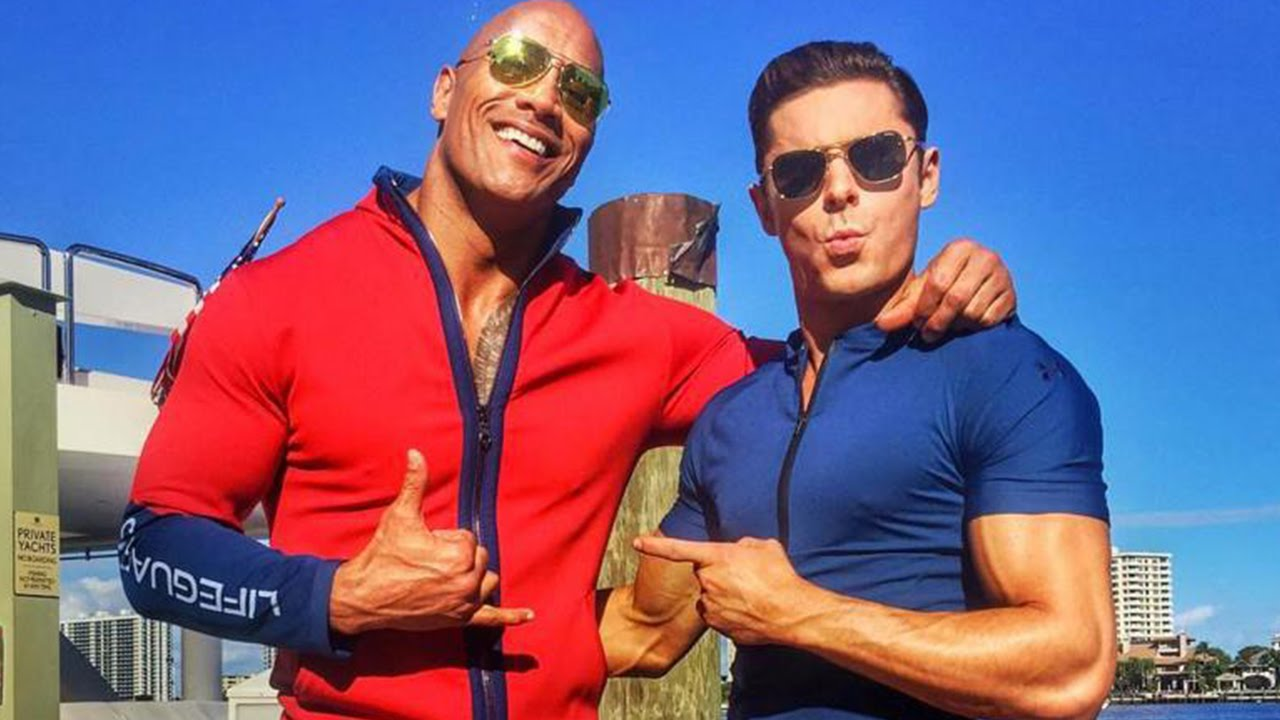 56eef43a7486 Dwayne Johnson and Zac Efron Share First Baywatch Set Photos - YouTube