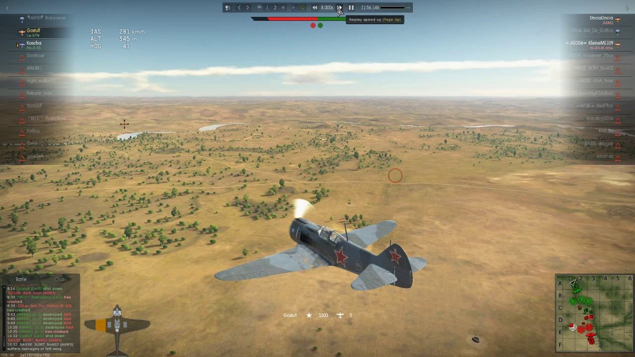 War Thunder: La-5FN vs 6 jap planes
