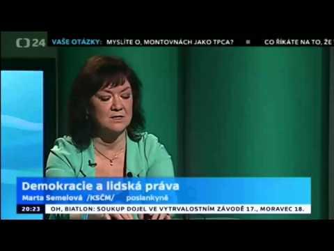 Poslankyně KSČM Marta Semelová v pořadu Hyde Park ČT24