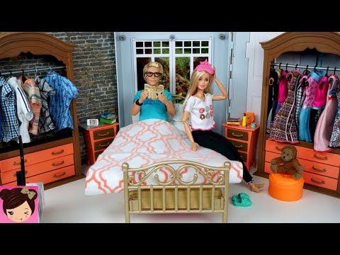 Barbie Ken Morning Routine Bedroom Bathroom Doll Hou