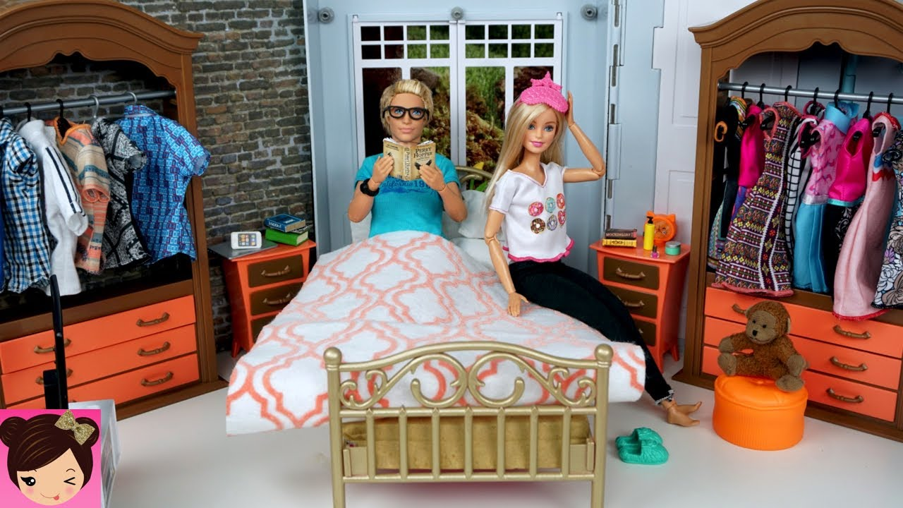 Barbie Bedroom In A Box: Barbie & Ken Evening Routine Bedroom Bathroom Doll House