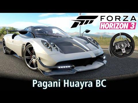 Top Speed: Pagani Huayra BC! +Racha com Zonda e Aventador! | Forza Horizon 3 + G920