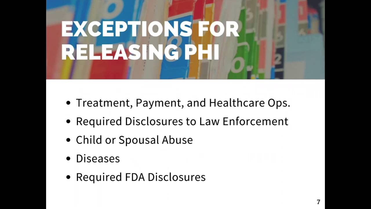 3  Exceptions for Releasing PHI: 2016 HIPAA Webinar 5