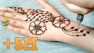 Henna for beginners with a simple and elegant design - from the series of  lessons henna embossing