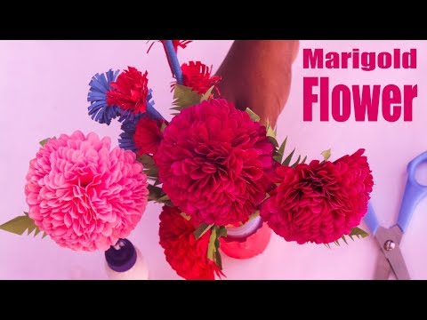 How To Make Marigold Flower With Colour Paper|Paper Flower Origami Easy|DIY Paper Crafts|কাগজের ফুল