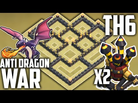 Clash of Clans BEST TH6 WAR BASE! 2 AIR DEFENSES! (Town Hall 6 War/Trophy Base) Anti Dragon Layout