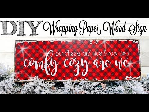 DIY Wrapping Paper Wood Sign | 3 of 12 Days of Christmas