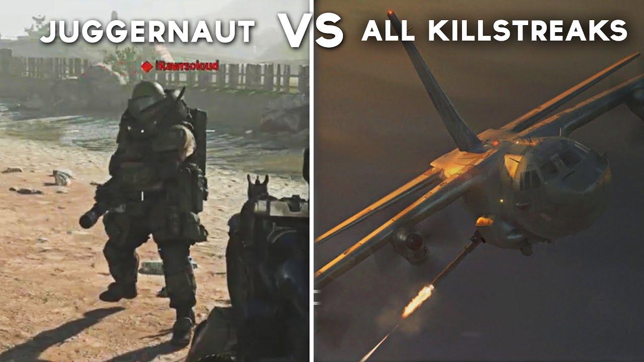 All Killstreak Attacks On Juggernaut Call Of Duty Modern Warfare Juggernaut Vs Every Killstreak Youtube