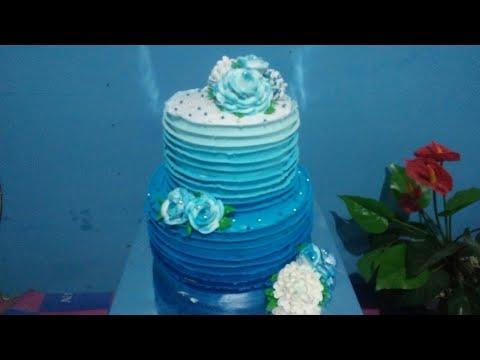 Cara Menghias Kue Pengantin Biru _ Ombre Wedding Cake