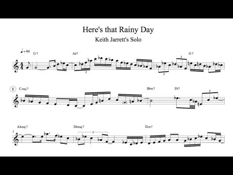 Here's that Rainy Day (Keith Jarrett Transcription)