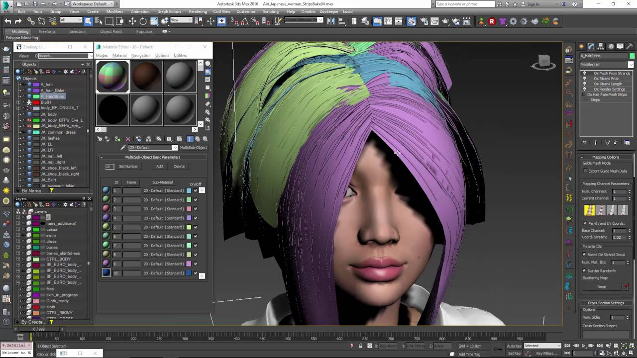 Ornatrix 3dsmax: Baking hair texture onto hair strips