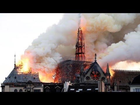 سقوط برج كاتدرائية نوتردام في باريس بفعل الحريق - FOLLOW UP  - 21:53-2019 / 4 / 16