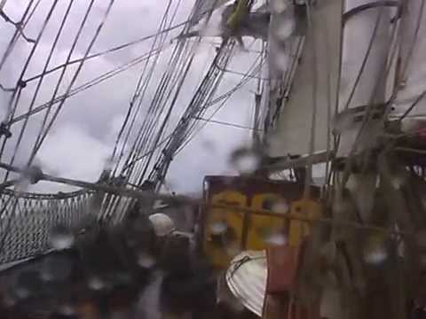 Tres Hombres Schooner Brig in storm on the North Sea with Guillaume Le Grand in the mast.
