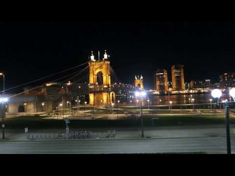 View of Smale Rivefront Park along the Ohio River in downtown Cincinnati night view