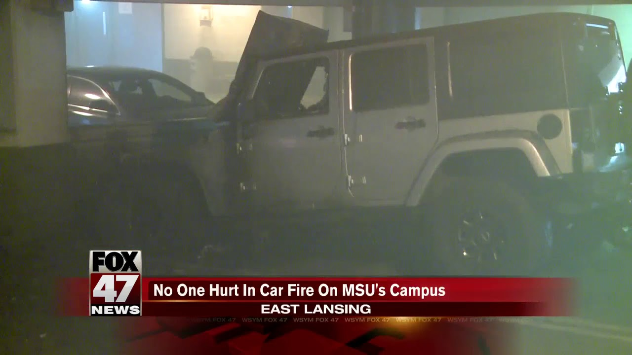 Jeep Destroyed After Catching Fire Inside Parking Garage