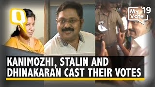 Elections 2019 Kanimozhi Stalin and Dhinakaran Cast Their Votes The Quint