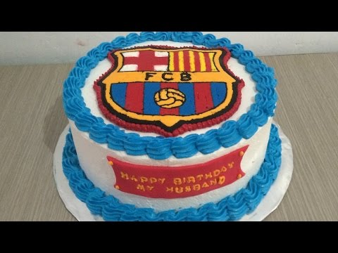 Buttercream Transfer FC Barcelona Cake Decorating