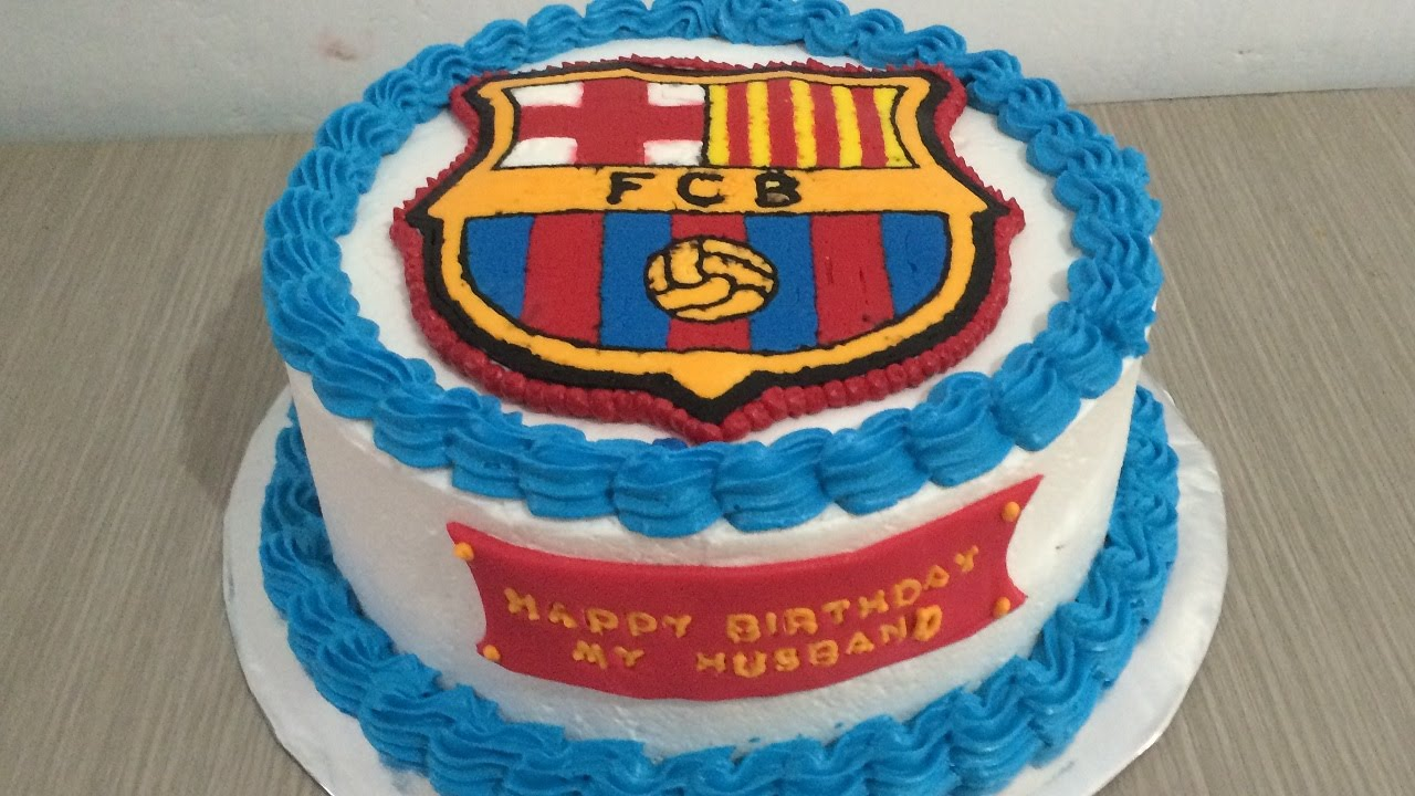 Fc Cake Design Roma : Buttercream Transfer FC Barcelona Cake Decorating - YouTube