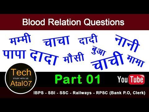 Blood Relation Question - रक्त सम्बन्ध -  हिंदी में